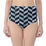 CHEVRON1 BLACK MARBLE & ICE CRYSTALS High-Waist Bikini Bottoms