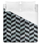 CHEVRON1 BLACK MARBLE & ICE CRYSTALS Duvet Cover (Queen Size)