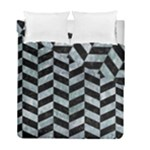 CHEVRON1 BLACK MARBLE & ICE CRYSTALS Duvet Cover Double Side (Full/ Double Size)