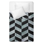 CHEVRON1 BLACK MARBLE & ICE CRYSTALS Duvet Cover Double Side (Single Size)