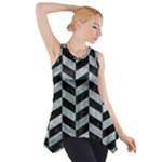 CHEVRON1 BLACK MARBLE & ICE CRYSTALS Side Drop Tank Tunic