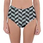 CHEVRON1 BLACK MARBLE & ICE CRYSTALS Reversible High-Waist Bikini Bottoms