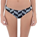 CHEVRON1 BLACK MARBLE & ICE CRYSTALS Reversible Hipster Bikini Bottoms