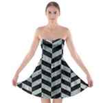 CHEVRON1 BLACK MARBLE & ICE CRYSTALS Strapless Bra Top Dress