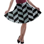 CHEVRON1 BLACK MARBLE & ICE CRYSTALS A-line Skater Skirt