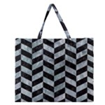 CHEVRON1 BLACK MARBLE & ICE CRYSTALS Zipper Large Tote Bag