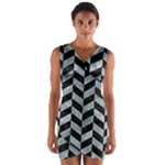 CHEVRON1 BLACK MARBLE & ICE CRYSTALS Wrap Front Bodycon Dress