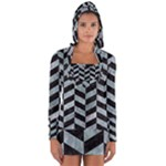 CHEVRON1 BLACK MARBLE & ICE CRYSTALS Long Sleeve Hooded T-shirt
