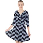 CHEVRON1 BLACK MARBLE & ICE CRYSTALS Quarter Sleeve Front Wrap Dress