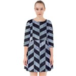 CHEVRON1 BLACK MARBLE & ICE CRYSTALS Smock Dress