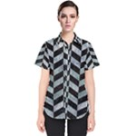 CHEVRON1 BLACK MARBLE & ICE CRYSTALS Women s Short Sleeve Shirt
