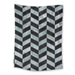 CHEVRON1 BLACK MARBLE & ICE CRYSTALS Medium Tapestry