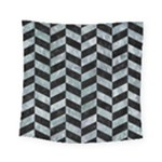 CHEVRON1 BLACK MARBLE & ICE CRYSTALS Square Tapestry (Small)