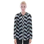 CHEVRON1 BLACK MARBLE & ICE CRYSTALS Womens Long Sleeve Shirt