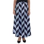 CHEVRON1 BLACK MARBLE & ICE CRYSTALS Flared Maxi Skirt