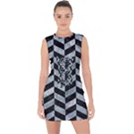 CHEVRON1 BLACK MARBLE & ICE CRYSTALS Lace Up Front Bodycon Dress