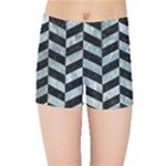 CHEVRON1 BLACK MARBLE & ICE CRYSTALS Kids Sports Shorts
