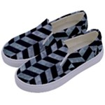 CHEVRON1 BLACK MARBLE & ICE CRYSTALS Kids  Canvas Slip Ons