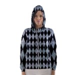 DIAMOND1 BLACK MARBLE & ICE CRYSTALS Hooded Wind Breaker (Women)