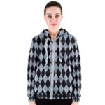 DIAMOND1 BLACK MARBLE & ICE CRYSTALS Women s Zipper Hoodie