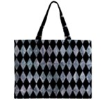 DIAMOND1 BLACK MARBLE & ICE CRYSTALS Zipper Mini Tote Bag