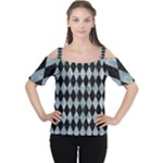 DIAMOND1 BLACK MARBLE & ICE CRYSTALS Cutout Shoulder Tee