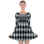 DIAMOND1 BLACK MARBLE & ICE CRYSTALS Long Sleeve Skater Dress