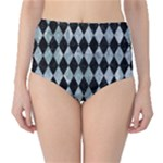 DIAMOND1 BLACK MARBLE & ICE CRYSTALS High-Waist Bikini Bottoms