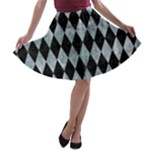 DIAMOND1 BLACK MARBLE & ICE CRYSTALS A-line Skater Skirt