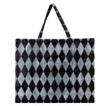 DIAMOND1 BLACK MARBLE & ICE CRYSTALS Zipper Large Tote Bag