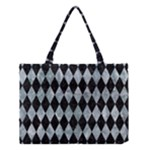 DIAMOND1 BLACK MARBLE & ICE CRYSTALS Medium Tote Bag