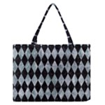 DIAMOND1 BLACK MARBLE & ICE CRYSTALS Zipper Medium Tote Bag