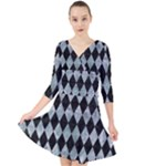DIAMOND1 BLACK MARBLE & ICE CRYSTALS Quarter Sleeve Front Wrap Dress