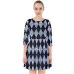 DIAMOND1 BLACK MARBLE & ICE CRYSTALS Smock Dress