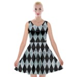 DIAMOND1 BLACK MARBLE & ICE CRYSTALS Velvet Skater Dress