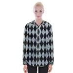 DIAMOND1 BLACK MARBLE & ICE CRYSTALS Womens Long Sleeve Shirt