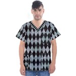 DIAMOND1 BLACK MARBLE & ICE CRYSTALS Men s V-Neck Scrub Top