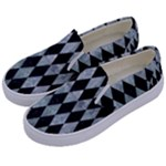 DIAMOND1 BLACK MARBLE & ICE CRYSTALS Kids  Canvas Slip Ons