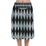 DIAMOND1 BLACK MARBLE & ICE CRYSTALS Velvet Flared Midi Skirt