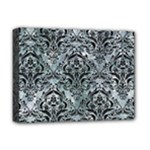 DAMASK1 BLACK MARBLE & ICE CRYSTALS Deluxe Canvas 16  x 12