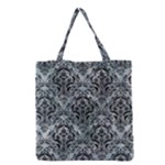 DAMASK1 BLACK MARBLE & ICE CRYSTALS Grocery Tote Bag