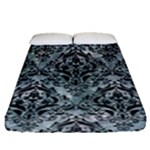 DAMASK1 BLACK MARBLE & ICE CRYSTALS Fitted Sheet (Queen Size)