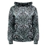 DAMASK1 BLACK MARBLE & ICE CRYSTALS Women s Pullover Hoodie