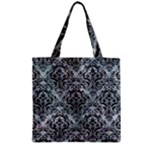 DAMASK1 BLACK MARBLE & ICE CRYSTALS Zipper Grocery Tote Bag