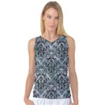 DAMASK1 BLACK MARBLE & ICE CRYSTALS Women s Basketball Tank Top