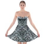 DAMASK1 BLACK MARBLE & ICE CRYSTALS Strapless Bra Top Dress