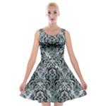 DAMASK1 BLACK MARBLE & ICE CRYSTALS Velvet Skater Dress