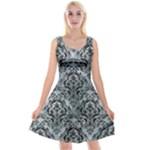 DAMASK1 BLACK MARBLE & ICE CRYSTALS Reversible Velvet Sleeveless Dress