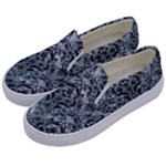 DAMASK1 BLACK MARBLE & ICE CRYSTALS Kids  Canvas Slip Ons