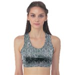 HEXAGON1 BLACK MARBLE & ICE CRYSTALS Sports Bra
